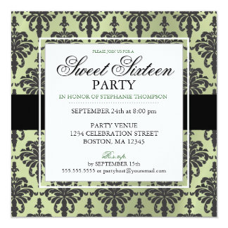 Black Green Damask Sweet 16 Party Invitations