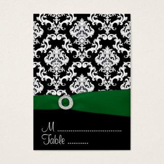 Black & Green Damask Wedding Reception Place Cards