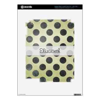 Black Green Dots Stitched Vellum iPad 3 Skins