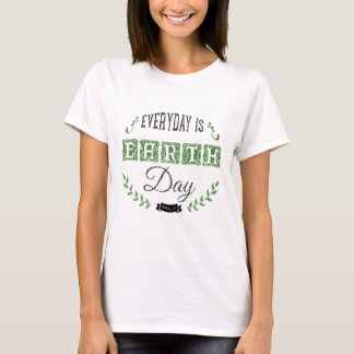 Black & Green Earth Day Charcoal Illustration T-Shirt
