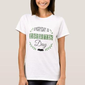 Black & Green Earth Day Charcoal Illustration T-Shirt
