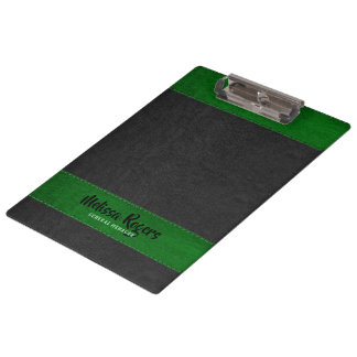 Black & Green Faux Leather Stitches Effect Clipboard