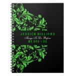 Black & Green Floral Swirls Lace Note Book