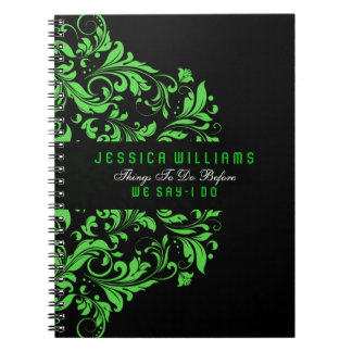 Black & Green Floral Swirls Lace Notebook