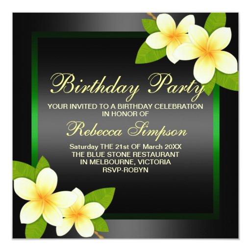 Black & Green Frangipani Birthday Invitation