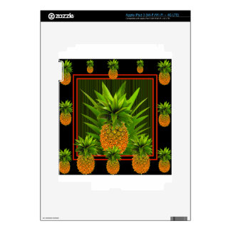 BLACK-GREEN HAWAIIAN PINEAPPLES DESIGN DECALS FOR iPad 3