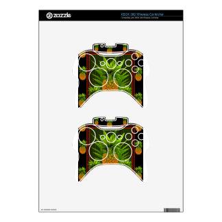 BLACK-GREEN HAWAIIAN PINEAPPLES DESIGN XBOX 360 CONTROLLER SKIN