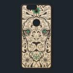 "Black &amp; Green Lion Retro Floral Sugar Skull Wood Nexus 6P Case<br><div class=""desc"">Cute black retro lion floral sugar skull illustration green accents</div>"