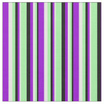 [ Thumbnail: Black, Green, Mint Cream, and Dark Violet Pattern Fabric ]