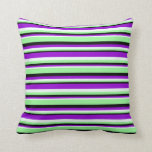 [ Thumbnail: Black, Green, Mint Cream, and Dark Violet Pattern Throw Pillow ]
