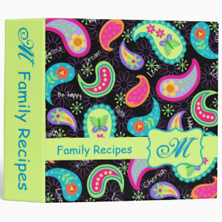 Black & Green Modern Paisley Pattern Monogram Binder