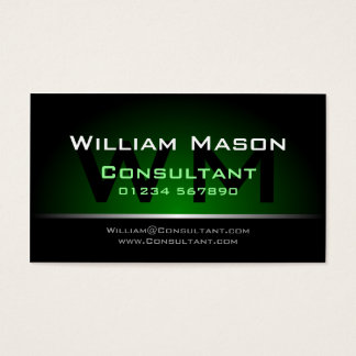Black Green Monogram Professional - Business Card