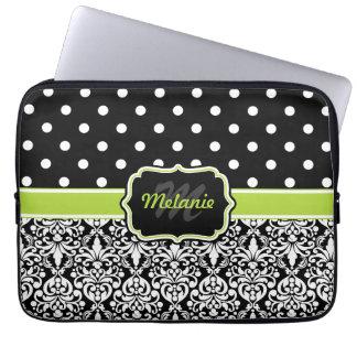 Black Green Monogrammed Damask Polka Dot Laptop Sleeves