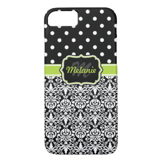 Black Green Monogrammed Damask Polka Dots Pattern iPhone 8/7 Case