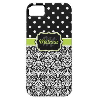 Black Green Monogrammed Damask Polka Dots Pattern iPhone SE/5/5s Case