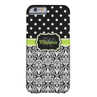 Black Green Monogrammed Damask Polka Dots Pattern iPhone 6 Case