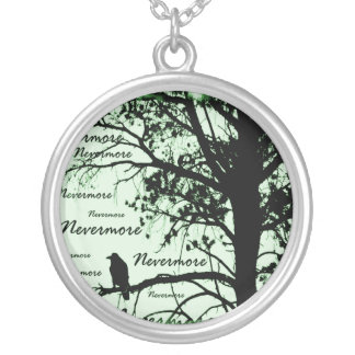 Black Green Nevermore Raven Silhouette Custom Necklace