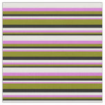 [ Thumbnail: Black, Green, Orchid, and White Stripes Fabric ]