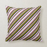 [ Thumbnail: Black, Green, Orchid, and White Stripes Pillow ]
