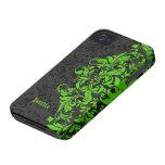 Black & Green Ornate Floral Damasks -Monogram iPhone 4 Case