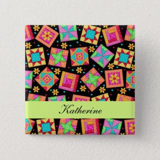 Black Green Patchwork Quilt Blocks Name Badge Pinback Button