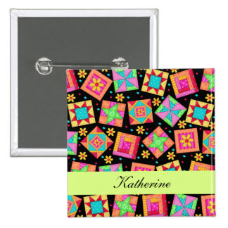 Black Green Patchwork Quilt Blocks Name Badge Pinback Button