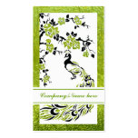 Black, green peacock and cherry blossoms business card