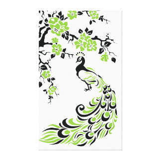Black green peacock and cherry blossoms custom stretched canvas prints