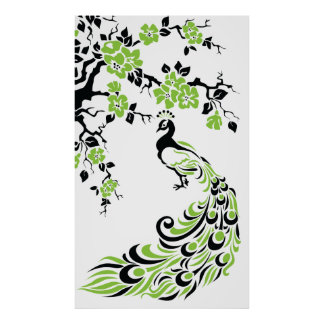 Black green peacock and cherry blossoms poster
