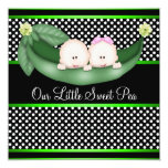 Black Green Peas In A Pod Gender Reveal Party Invitations