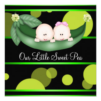 Black Green Peas In A Pod Gender Reveal Party Custom Announcements