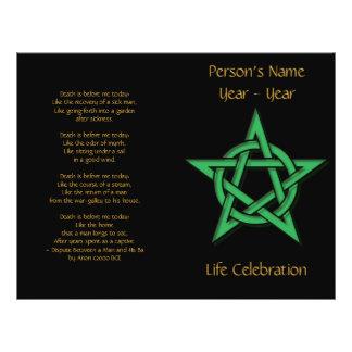 Black & Green Pentacle Wiccan Funeral Program 2 Custom Flyer