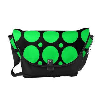 Black Green Polka Dots Rickshaw Messenger Bag