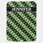 [ Thumbnail: Black & Green Pound Signs (£) Striped Pattern Baby Blanket ]