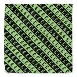 [ Thumbnail: Black & Green Pound Signs (£) Striped Pattern Bandana ]