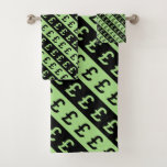 [ Thumbnail: Black & Green Pound Signs (£) Striped Pattern Bath Towel Set ]