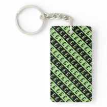 Black & Green Pound Signs (£) Striped Pattern Keychain