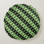 [ Thumbnail: Black & Green Pound Signs (£) Striped Pattern Round Pillow ]