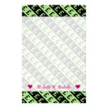 [ Thumbnail: Black & Green Pound Signs (£) Striped Pattern Stationery ]