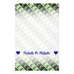 [ Thumbnail: Black & Green Pound Signs (£) Striped Pattern Stationery ]