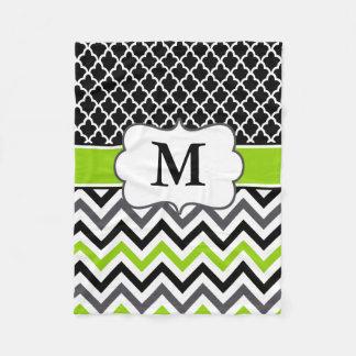 Black Green Quatrefoil Chevron Monogram Blanket Fleece Blanket