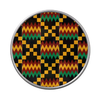 Black, Green, Red, and Yellow Kente Cloth Candy Tin