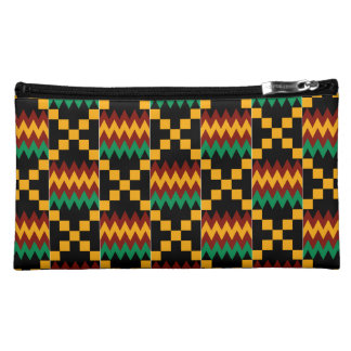 Black, Green, Red, and Yellow Kente Cloth Cosmetics Bags