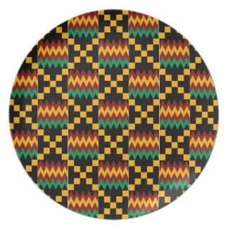 Black, Green, Red, and Yellow Kente Cloth Dinner Plate
