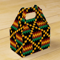 Black, Green, Red, and Yellow Kente Cloth Favor Box