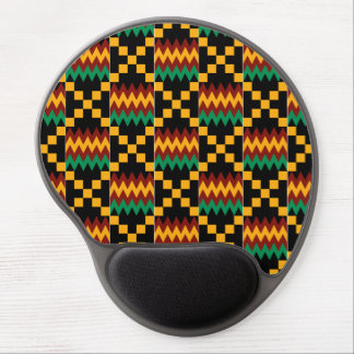 Black, Green, Red, and Yellow Kente Cloth Gel Mouse Pad