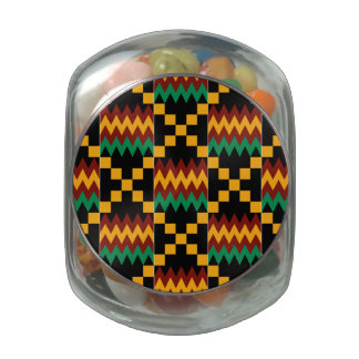 Black, Green, Red, and Yellow Kente Cloth Glass Jar