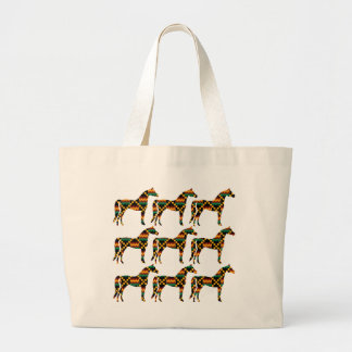 Black, Green, Red, and Yellow Kente Cloth Horses Jumbo Tote Bag
