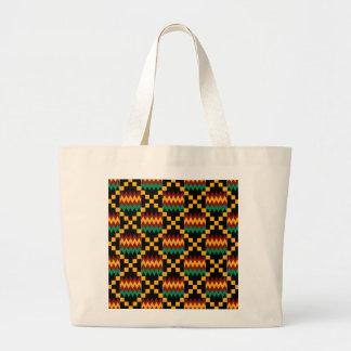 Black, Green, Red, and Yellow Kente Cloth Jumbo Tote Bag