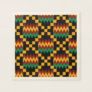 Black, Green, Red, and Yellow Kente Cloth Napkin